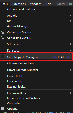 snippets-manager-menu